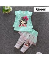 SWK91020 Lovely Top and Skirt Pant Set Green