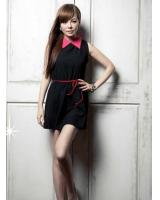 SWK91024 Fashion Sleeveless Dress Black