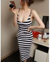 WD21150 Stylish Stripe Strap Dress Black