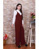 JW5008 Slit Jumpsuit & Top Set Maroon