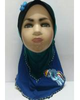 ZC-003 Pony Baby Hijab Blue+Green