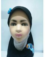 ZC-003 Pony Baby Hijab Black+White