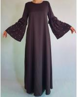 BM70973 Fashion Jubah Dark Brown