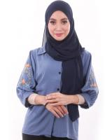 MH134 Embroidery Blouse Blue