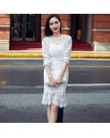BM71077 Lovely Lace Two Piece Dress White