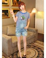 WP7640 Trendy Short Jumpsuit Light Blue
