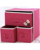 HL1011 3 in 1 DIY Storage Box Pink