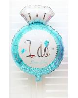 PB-302 I DO Diamond Ring Balloon Blue