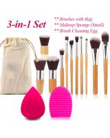 BL5015 3 in 1 Bamboo Makeup Brush Set As Picture