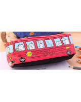 ST-502 Cute Bus Canvas Pencil Case Red