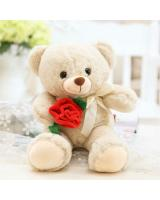 HM 852 Lovely Rose Teddy Bear Khaki