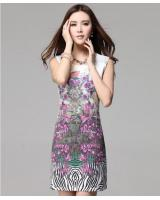 WD21587 Charming Floral Print Dress Purple