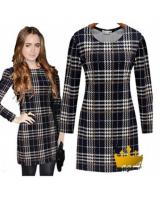 WD21590 Checker Fashion Dress As Picture