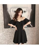 WD7645 Lotus Leaf Design Dress Black