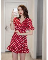 WD7646 Polka Dot Side Strap Dress Red