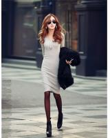 WD21593 Trendy Basic Korea Dress Grey