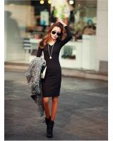 WD21593 Trendy Basic Korea Dress Black