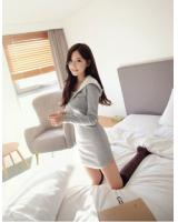 WD21596 Korea Stylish Hooded Dress Grey