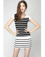 WD21598 Europe Simple Stripe Dress Black