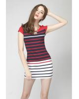 WD21598 Europe Simple Stripe Dress Red