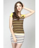 WD21598 Europe Simple Stripe Dress Yellow