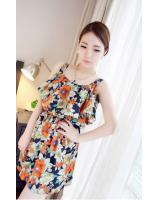 WD21599 Ruffle Floral Dress Orange