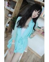 WJ21627 Fashion Chiffon Wrap Cardigan Blue