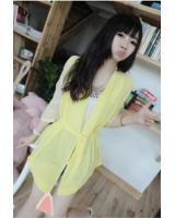 WJ21627 Fashion Chiffon Wrap Cardigan Yellow