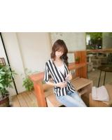 WJ21629 Casual Stripe Coat As Picture