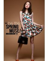 WD21657 Feather Print Dress White