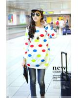 WT7664 Colourful Dot Top White