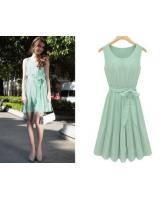 WD21674 Feminine Side Ribbon Dress Green