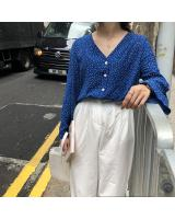 VW12360 Lovely Polka Dot Top Blue