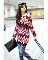 WT21712 Zigzag Design Top Red