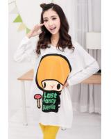WT21713 Fashion Cartoon Top White