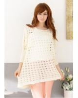 WT21718 Stylish Knit Top Beige