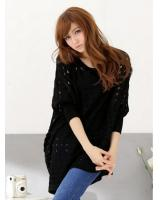WT21718 Stylish Knit Top Black
