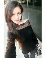 WT21720 Pretty Off-Shoulder Lace Top Black