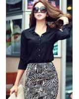 WT21723 Stylish Button Top Black
