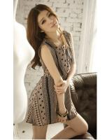 WD21729 Sleeveless Dress Brown