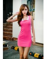 WD21730 Korea Sleeveless Dress Pink