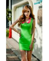 WD21730 Korea Sleeveless Dress Green