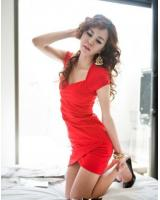 WD21735 Sexy Hugging Dress Red