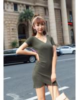 GW2294 Casual Knit Dress Army Green
