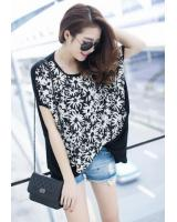 WT21745 Fashion Flower Top Black
