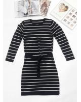 WD7689 Women's Striped Casual Dress Black