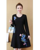 FF-105 Pretty Embroidery Dress (Plus Size) Blue