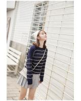 FF-107 Fashion Stripe Knit Top Dark Blue
