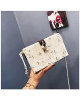 KW80398 Vintage Square Handbag Cream Lace