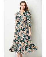 ZL773 Floral Dress Green